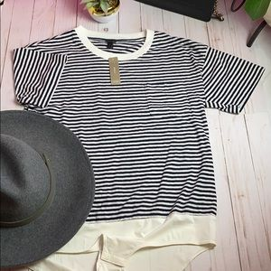 New JCREW STRIPE BODYSUIT TEE! SZ L